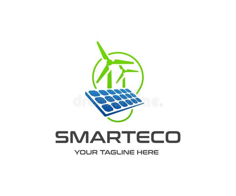 Design för logo för förnybara energikällorresurser Solpanel, vindturbin och vektordesign för ljus kula royaltyfri illustrationer