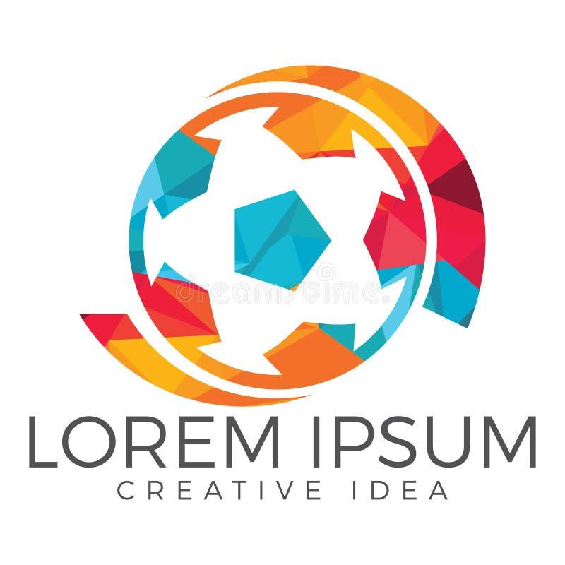 Design för logo för fotbollboll royaltyfri illustrationer
