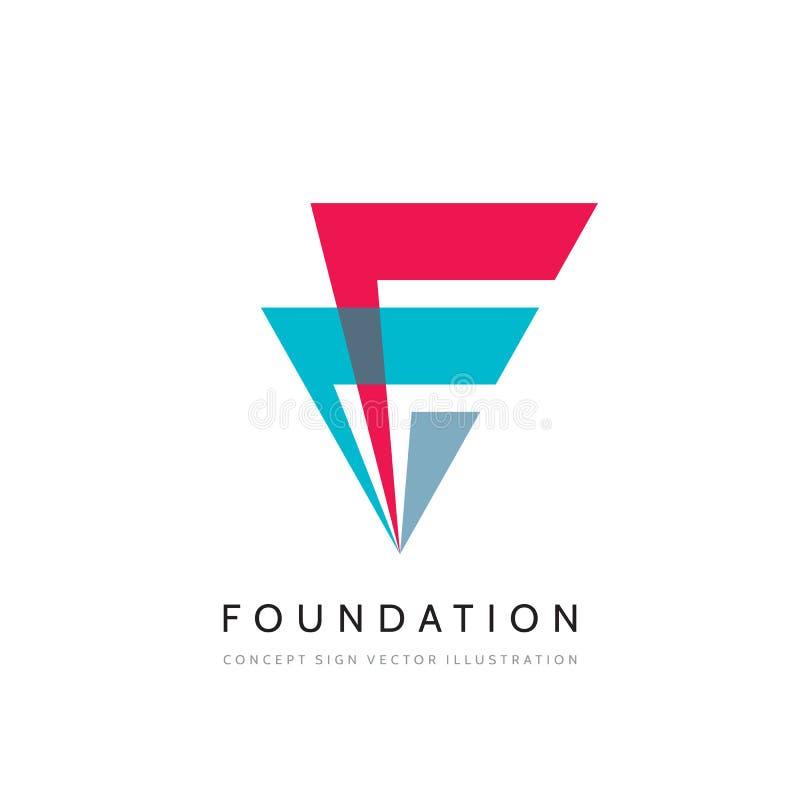 Design för logo för fundamentbegreppsaffär Denelopment idérikt tecken vektor f?r mall f?r identitet f?r illustrationsaff?r f?reta royaltyfri illustrationer
