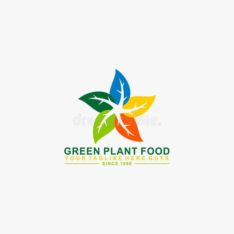 Design för logo för grön bladstjärnaform naturlig stock illustrationer