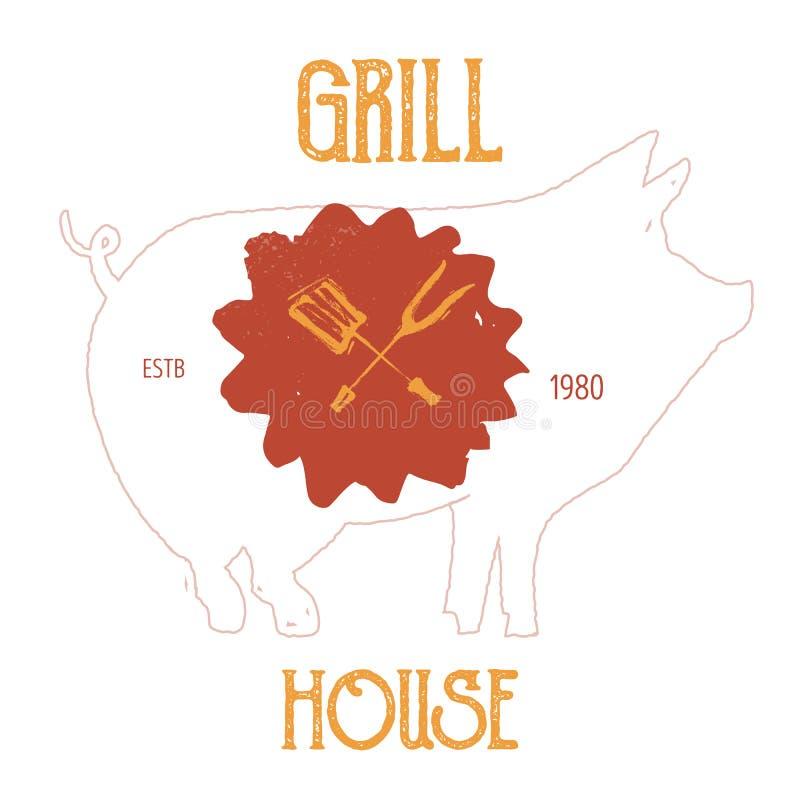 Design för logo för griskött för tappninggrungestil Spädgrisemblem för restaurangmeny Slaktgallersymbol stock illustrationer