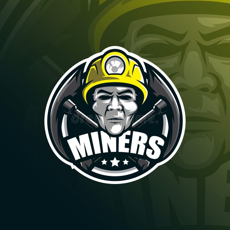 Design för logo för gruvarbetarevektormaskot med modern illustrationbegreppsstil för emblem-, emblem- och tshirtutskrift huvudgru stock illustrationer