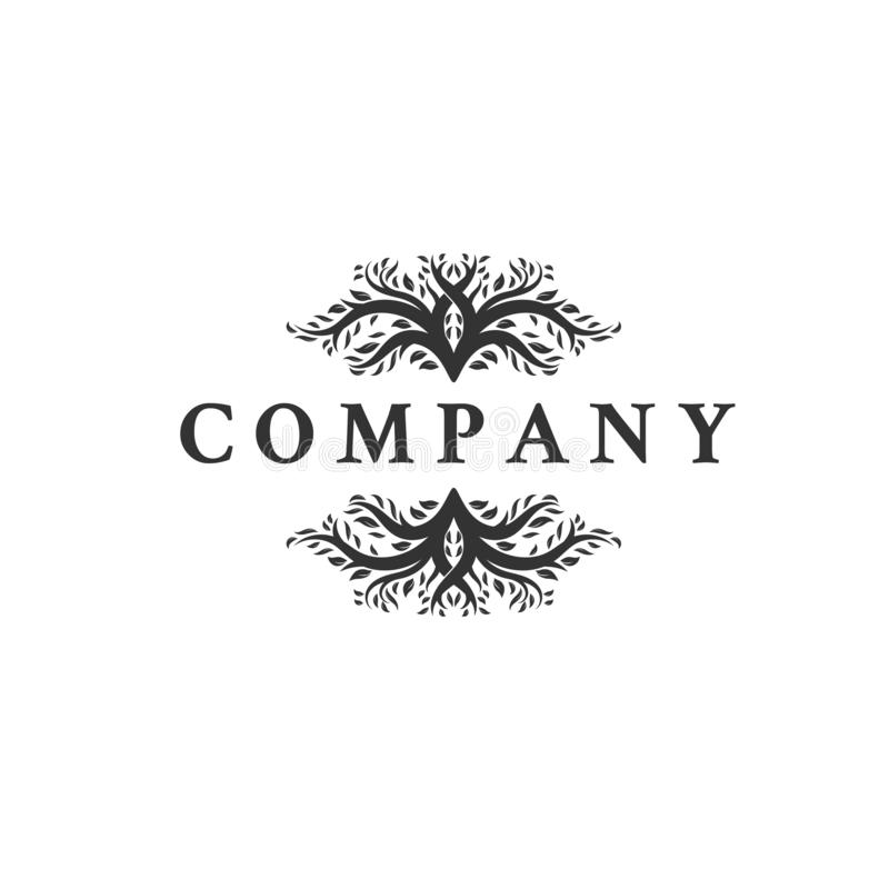 Design för logo för hjortbladhorn på kronhjort stock illustrationer
