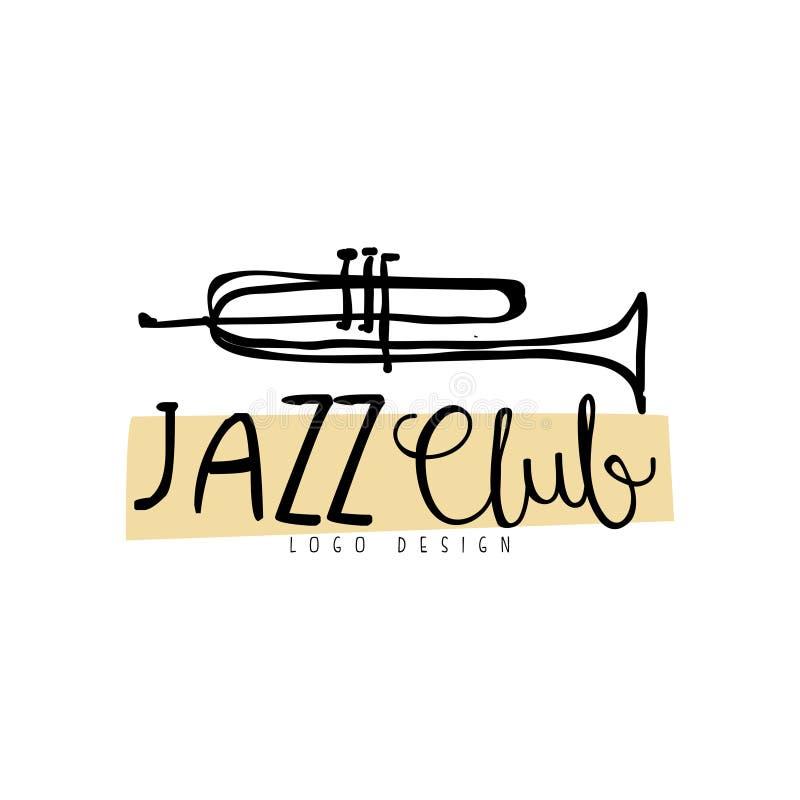 Design för logo för jazzklubba, tappningmusiketikett med trumpeten, beståndsdel för reklamblad, kort, broschyr eller baner, hand  vektor illustrationer