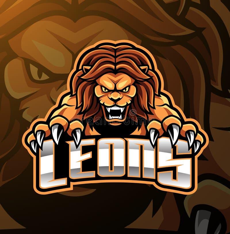 Design för logo för lejonhuvudmaskot royaltyfri illustrationer