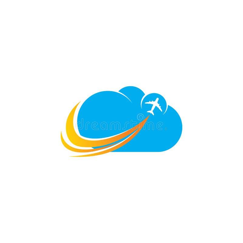 Design för logo för molnflygplanflyg royaltyfri illustrationer