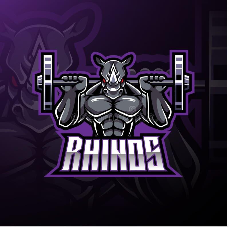 Design för logo för noshörningsportmaskot vektor illustrationer