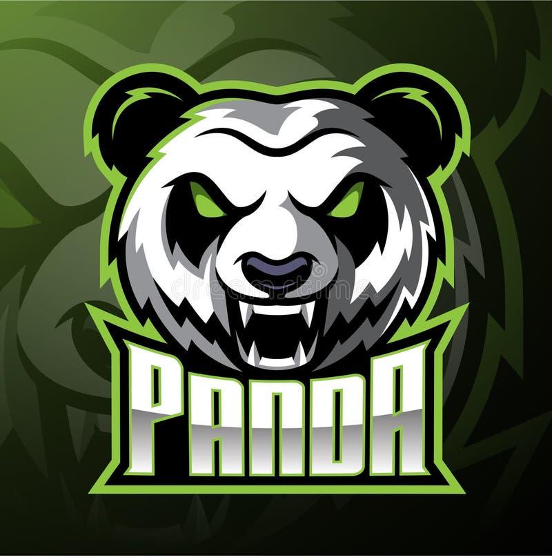 Design för logo för pandahuvudmaskot stock illustrationer