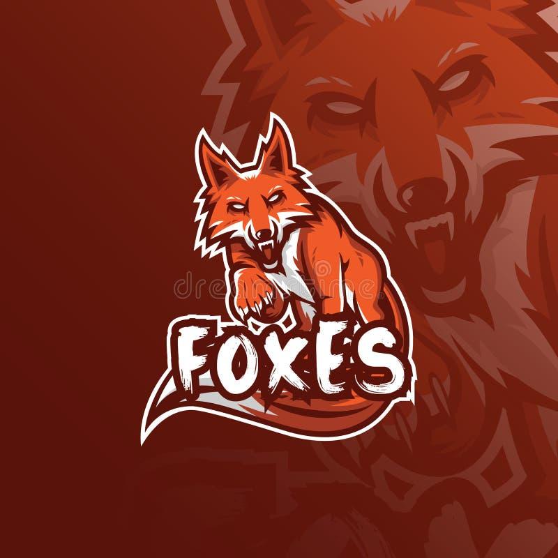 Design för logo för rävvektormaskot med modern illustrationbegreppsstil för emblem-, emblem- och tshirtutskrift ilsken rävillustr royaltyfri illustrationer