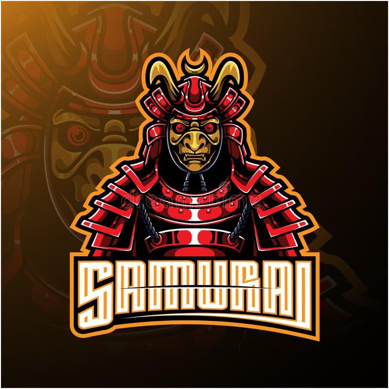 Design för logo för samurajkrigaremaskot vektor illustrationer