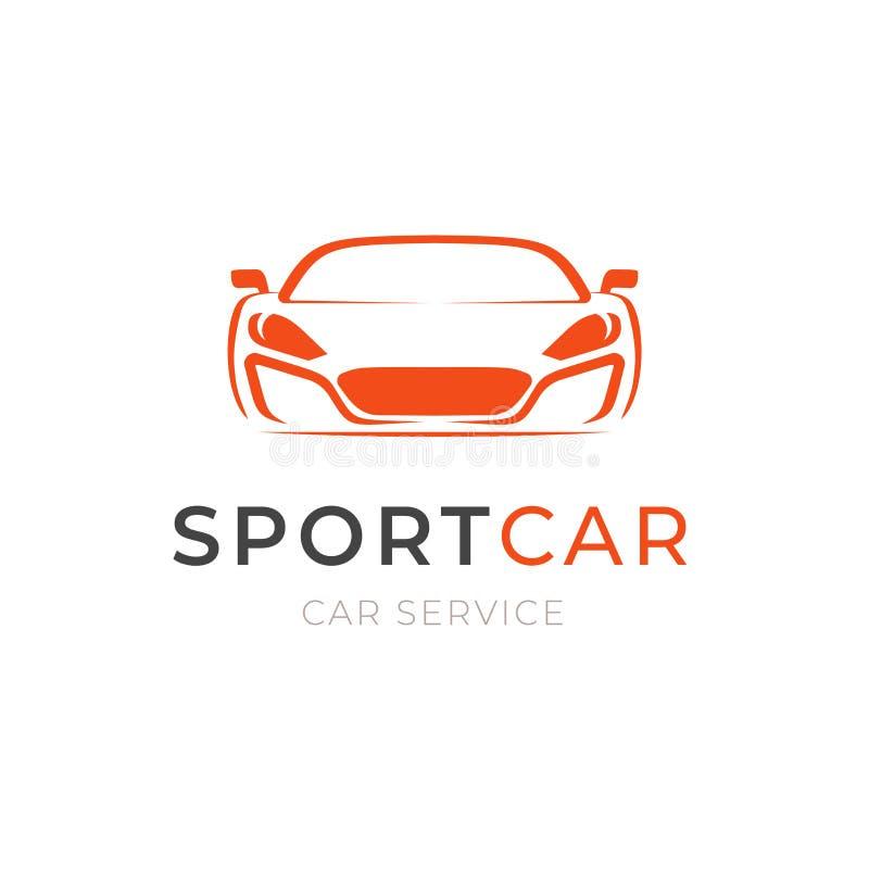 Design för logo för service för sportbil, kontur för begreppsmedelsymbol på vit bakgrund Mallemblem stock illustrationer