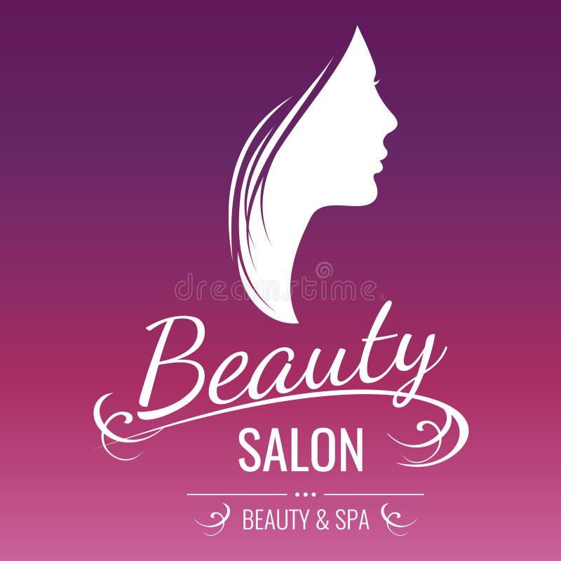 Design för logo för skönhetsalong med kvinnakonturn på rosa bakgrund vektor illustrationer