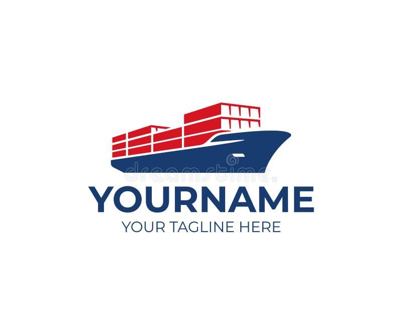 Design för logo för skepp för lastskyttel Design för vektor för behållareskepp vektor illustrationer