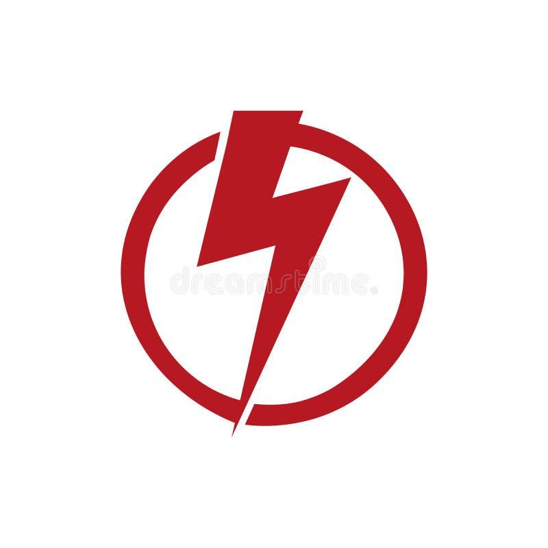 design för logo för symbol för åska för röd elektrisk spänning för faraljusmakt prålig också vektor för coreldrawillustration royaltyfri illustrationer