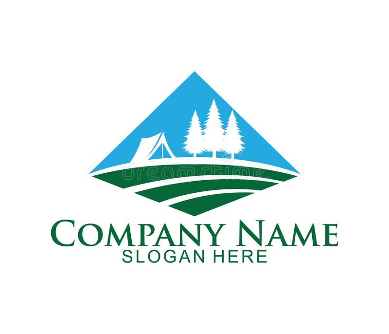 design för logo för symbol för djungelträcampingplats stock illustrationer