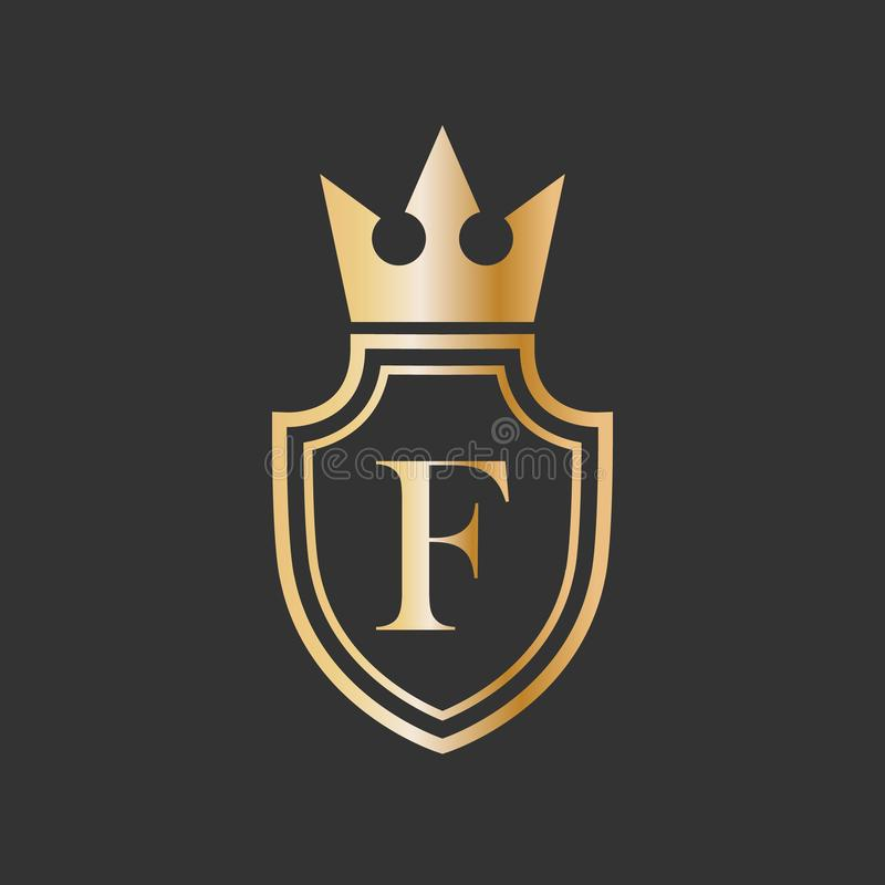 Design för logo för symbol för krona och för bokstav för vektorillustrationsköld vektor illustrationer