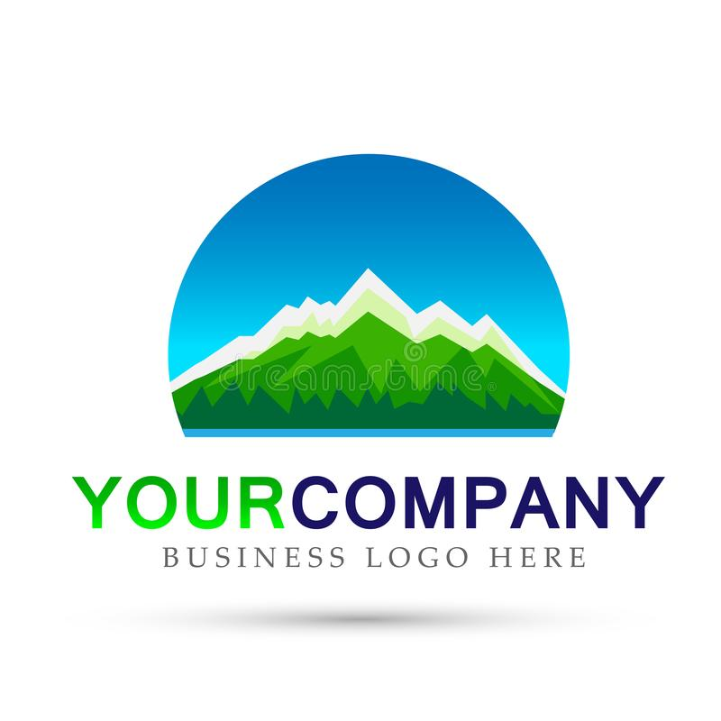 Design för logo för symbol för symboler för cirkel för logo för överkant för is för bergskedjahavssnö på vit bakgrund stock illustrationer