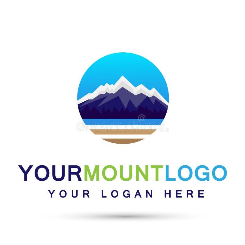 Design för logo för symbol för symboler för cirkel för logo för överkant för is för bergskedjahavssnö på vit bakgrund vektor illustrationer