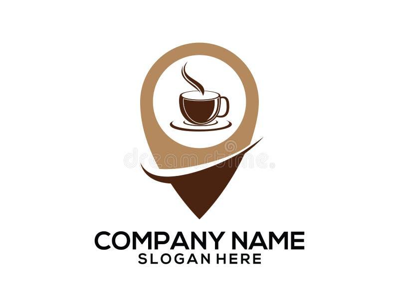 design för logo för symbol för vektor för pekare för läge för gps för kafé för kaffekopp vektor illustrationer