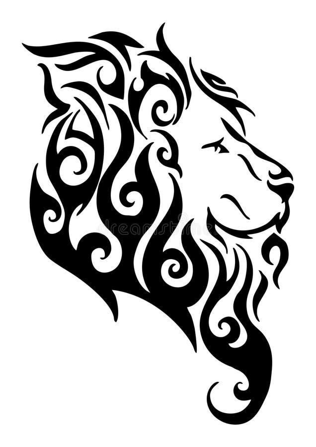 Design för logo för tatuering för huvud för konturlejonsida stam- från flammabrand royaltyfri illustrationer