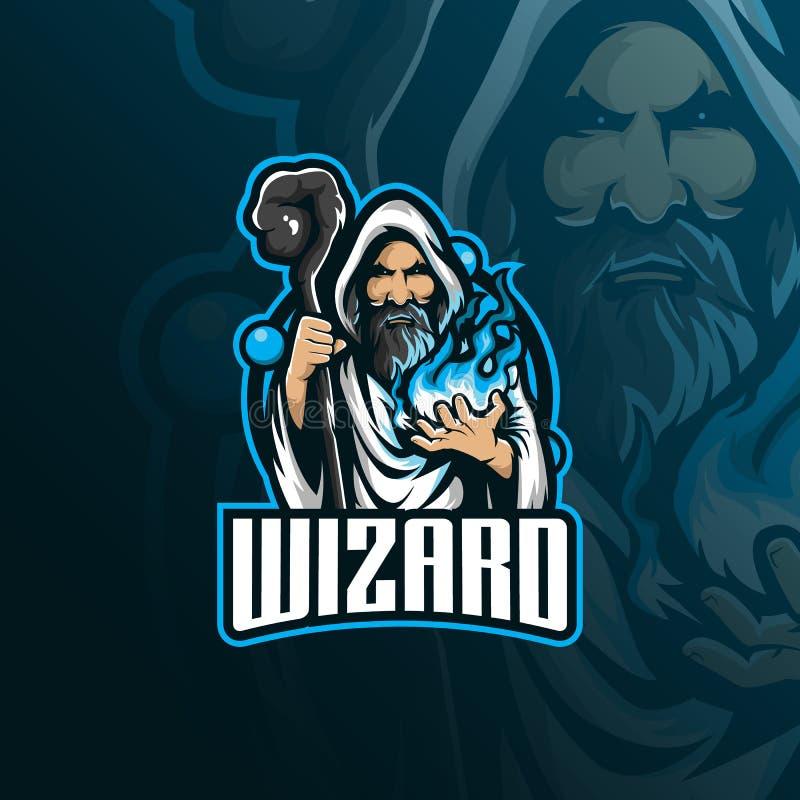Design för logo för trollkarlvektormaskot med modern illustrationbegreppsstil för emblem-, emblem- och tshirtutskrift ilsken trol stock illustrationer