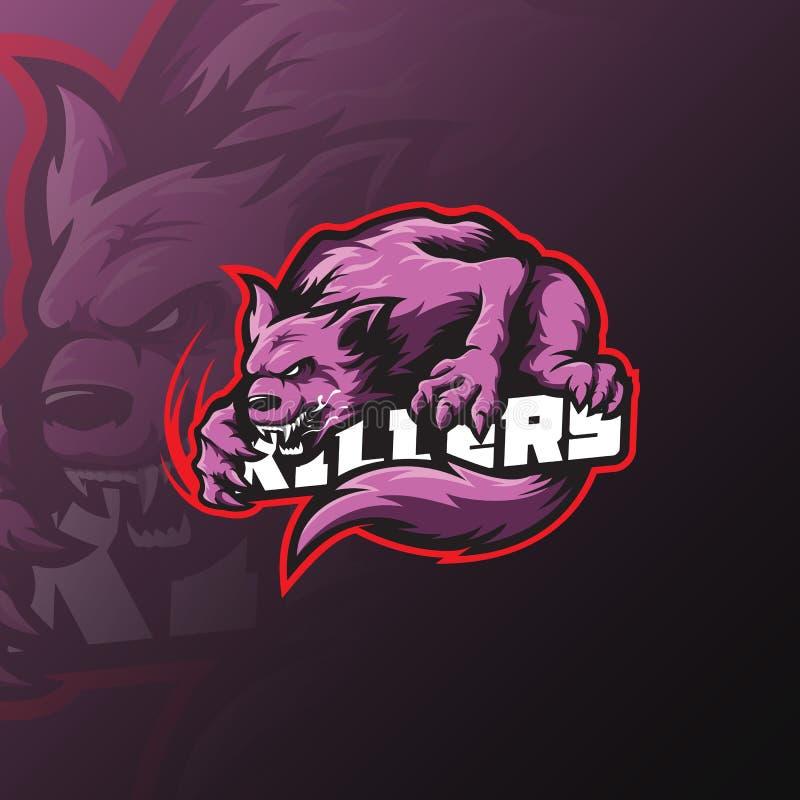 Design för logo för vargvektormaskot med modern illustrationbegreppsstil för emblem-, emblem- och tshirtutskrift ilsken wolf royaltyfri illustrationer