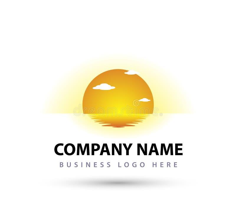 Design för logo för vektor för feriesommarstrand, hotellturism Soluppg?ng kust Ljust blått vektor illustrationer