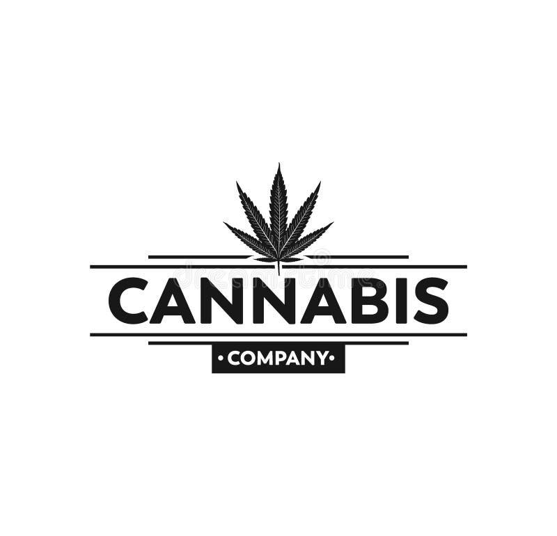 design för logo för vektor för illustration för kontur för cannabismarijuanablad royaltyfri illustrationer