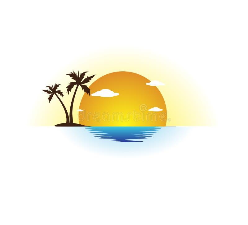 Design för logo för vektor för palmträd för kokosnöt för feriesommarstrand, hotellturism Soluppgång kust vektor illustrationer
