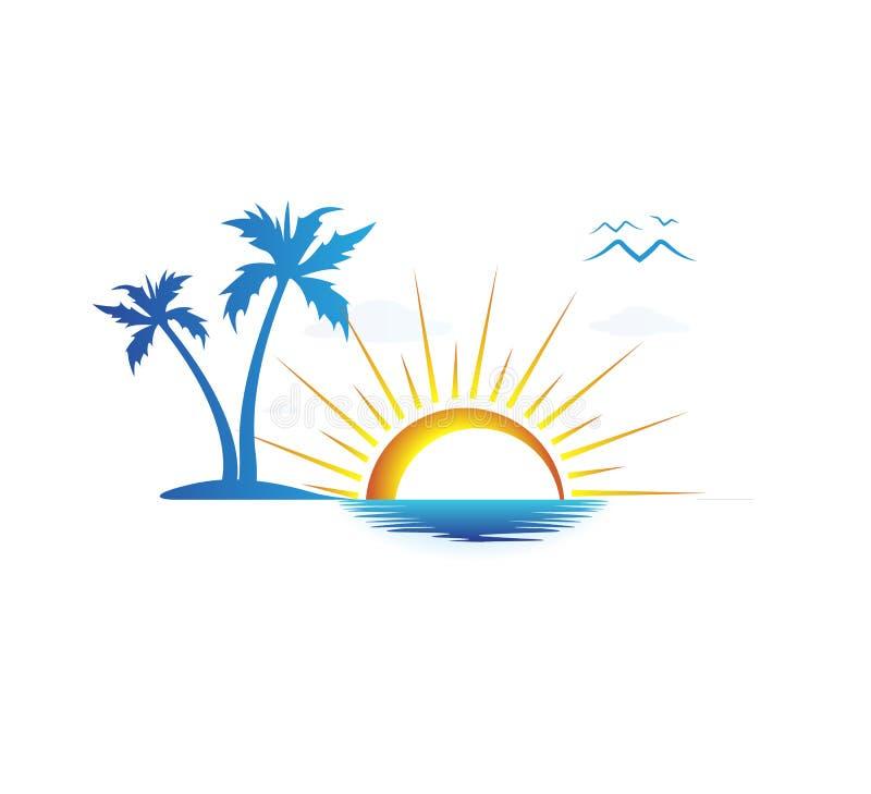 Design för logo för vektor för palmträd för kokosnöt för feriesommarstrand Kust solnedgång stock illustrationer