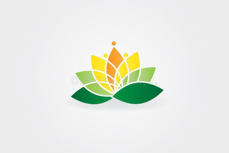 Design för Lotus Flower logovektor vektor illustrationer