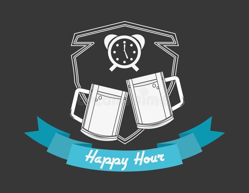 Design för lycklig timme royaltyfri illustrationer