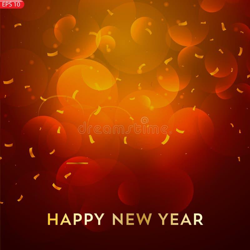 Design för lyckligt nytt år för vektor med text royaltyfri illustrationer