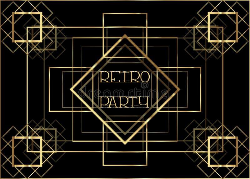 Design för mall för Art Deco tappninginbjudan med illustrationen av det guld- geometriska motivet Modeller och ramar Retro partib royaltyfri illustrationer