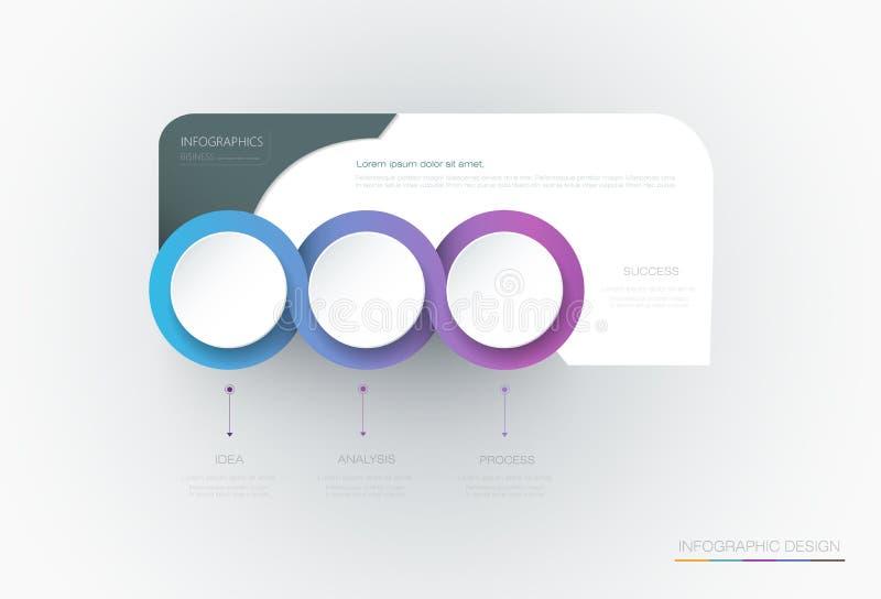 Design för mall för etikett för vektorInfographic 3d cirkel Infograph med 3 nummeralternativ eller moment royaltyfri illustrationer