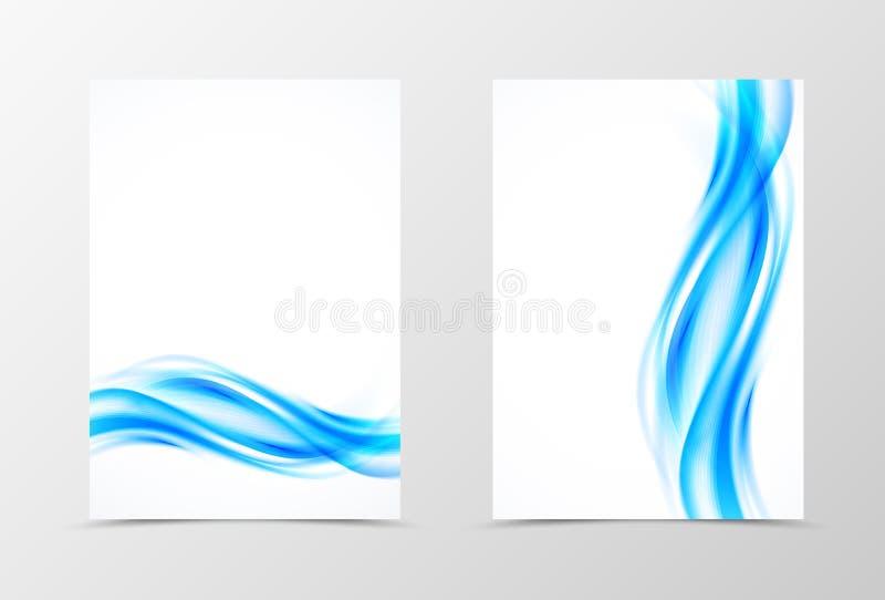 Design för mall för framdel- och baksidavågreklamblad vektor illustrationer
