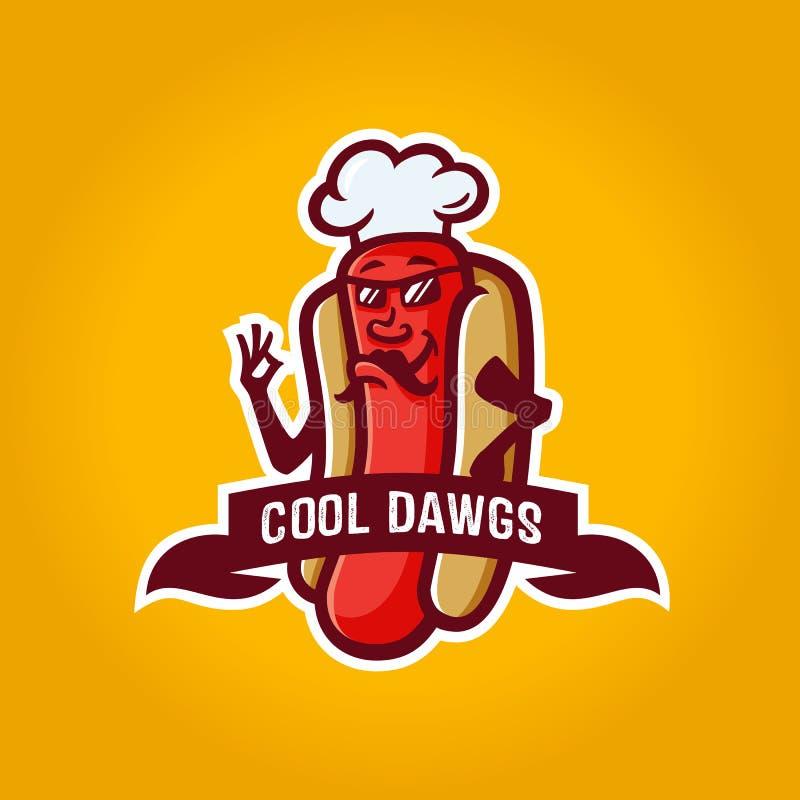 Design för mall för Hotdogteckenlogo stock illustrationer