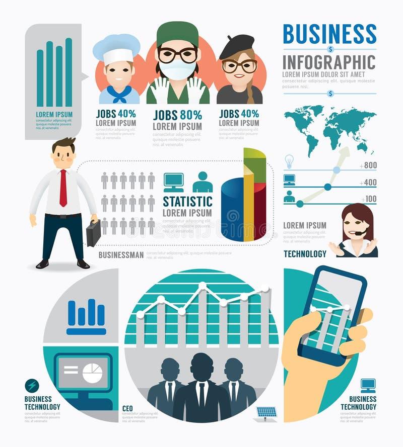 Design för mall för Infographic affärsjobb begreppsvektor stock illustrationer