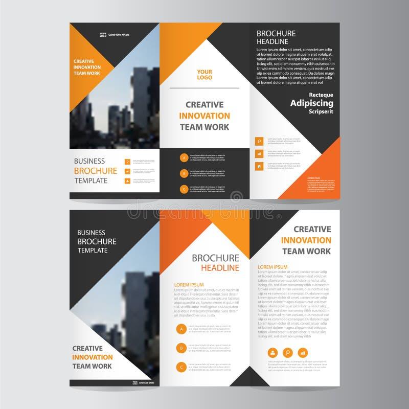 Design för mall för reklamblad för broschyr för broschyr för abstrakt apelsinsvarttriangel trifold, bokomslagorienteringsdesign royaltyfri illustrationer