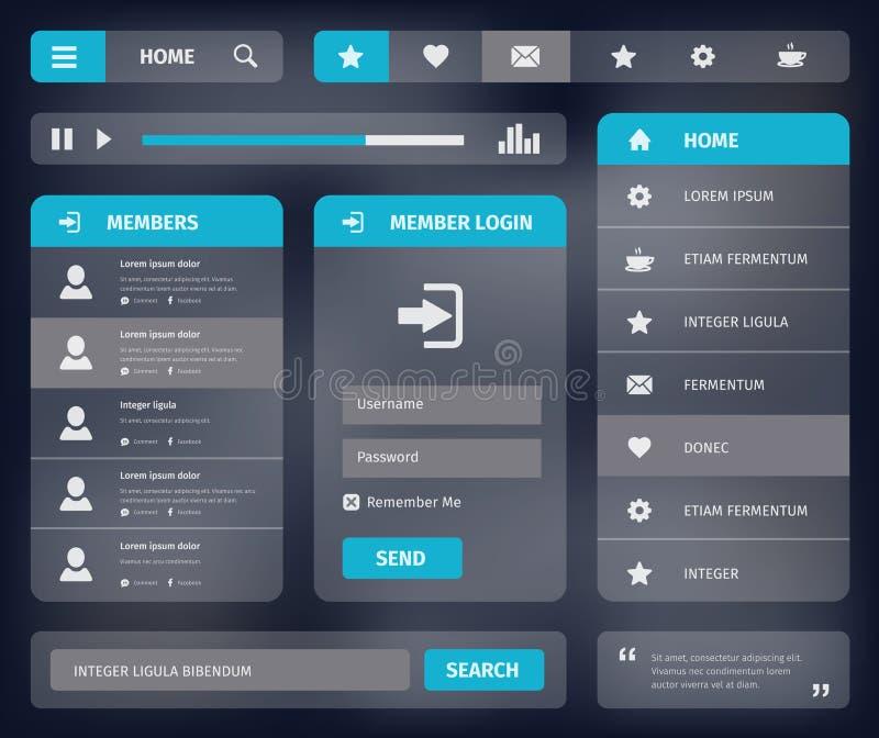 Design för mall för rengöringsduk UI för vektor mobil stock illustrationer