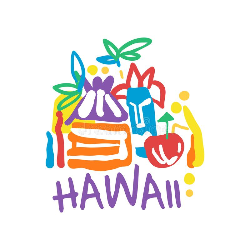 Design för mall för Hawaii ölogo original-, exotiskt emblem för sommarferie, etikett för en loppbyrå, beståndsdel för design stock illustrationer