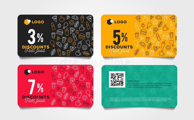 Design för mall för rabattkort- eller kupongsnabbmat med den linjära modellen av mat och drinkar royaltyfri illustrationer