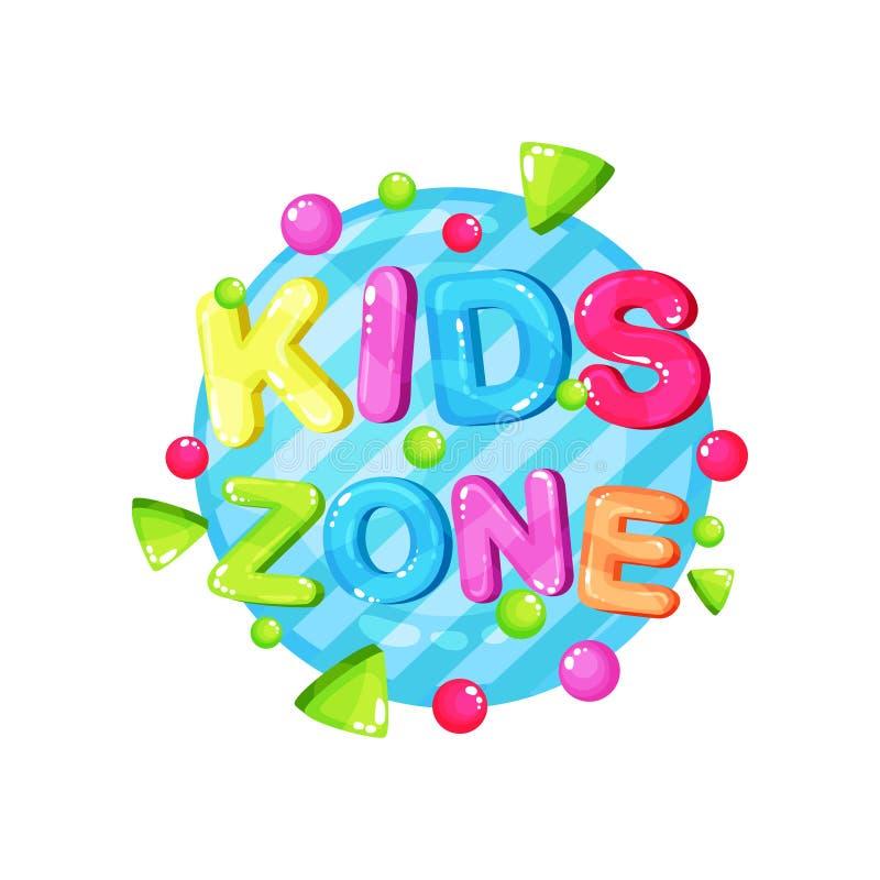 Design för mall för ungezonlogo, ljust färgrikt emblem för den barnsliga lekplatsen, lekrum, vektorillustration för modigt område stock illustrationer