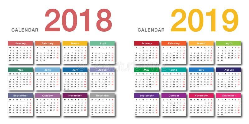 Design för mall för design för vektor för färgrik kalender för år 2018 och för år 2019 horisontalenkel och ren, royaltyfri illustrationer