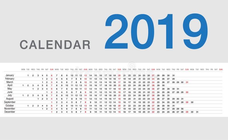 Design för mall 2019 för design för vektor för kalenderår enkel och ren, royaltyfri illustrationer