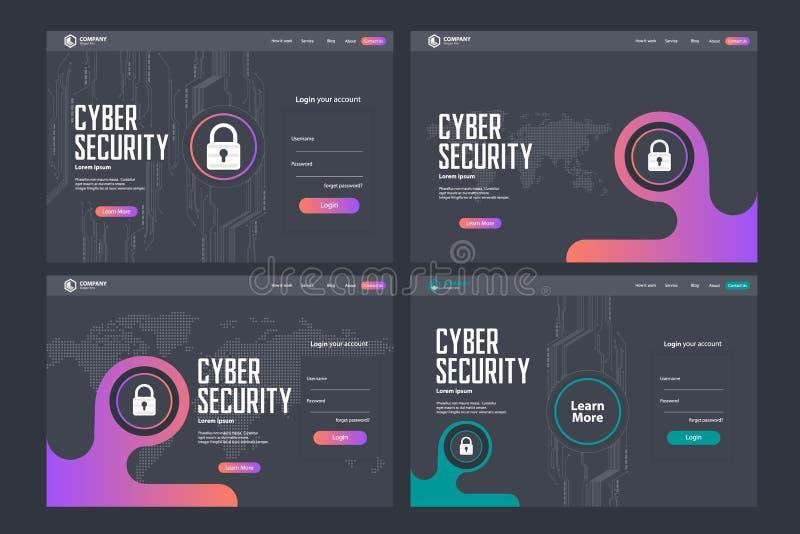 Design för mall för vektor för sida för Cybersäkerhetslandning vektor illustrationer