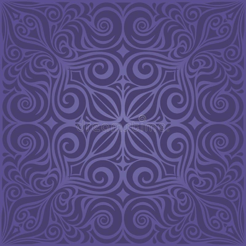 Design för mandala för mode för violett purpurfärgad för blommatappning sömlös bakgrund för modell blom- moderiktig stock illustrationer