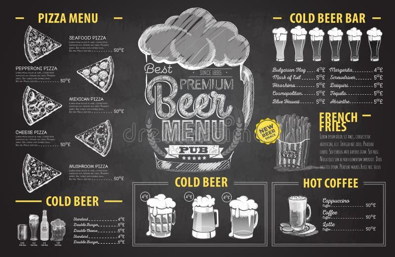Design för meny för öl för tappningkritateckning gifta sig för tomater för matställemeatrulle rökt royaltyfri illustrationer