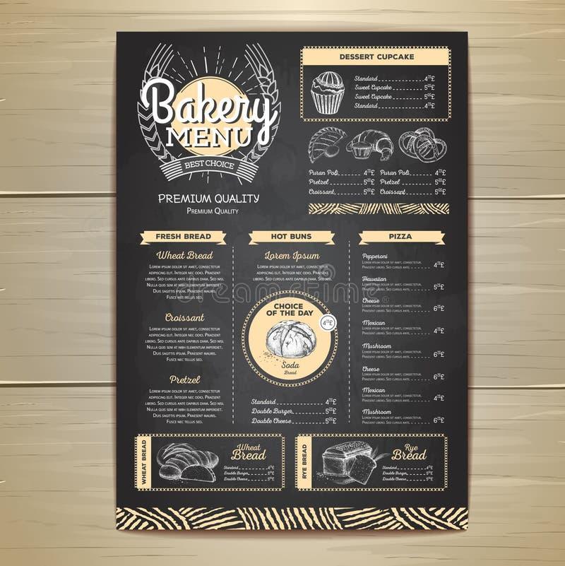 Design för meny för bageri för tappningkritateckning gifta sig för tomater för matställemeatrulle rökt royaltyfri illustrationer