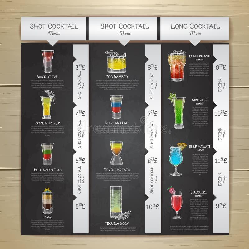 Design för meny för coctail för tappningkritateckning vektor illustrationer